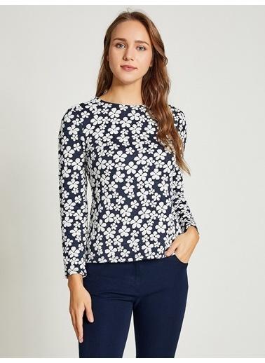 Vekem-Limited Edition Uzun Kollu Çiçekli Bluz Lacivert